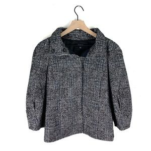 Ann Taylor Tweed Puffy Sleeve Button Jacket